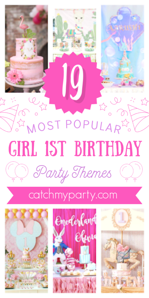 Collage of the 19 most popular 1st birthday party themes