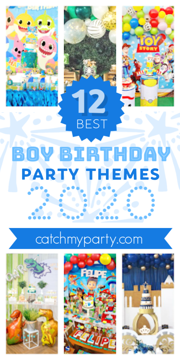 Collage of the most popular boy birthday party themes for 2020!
