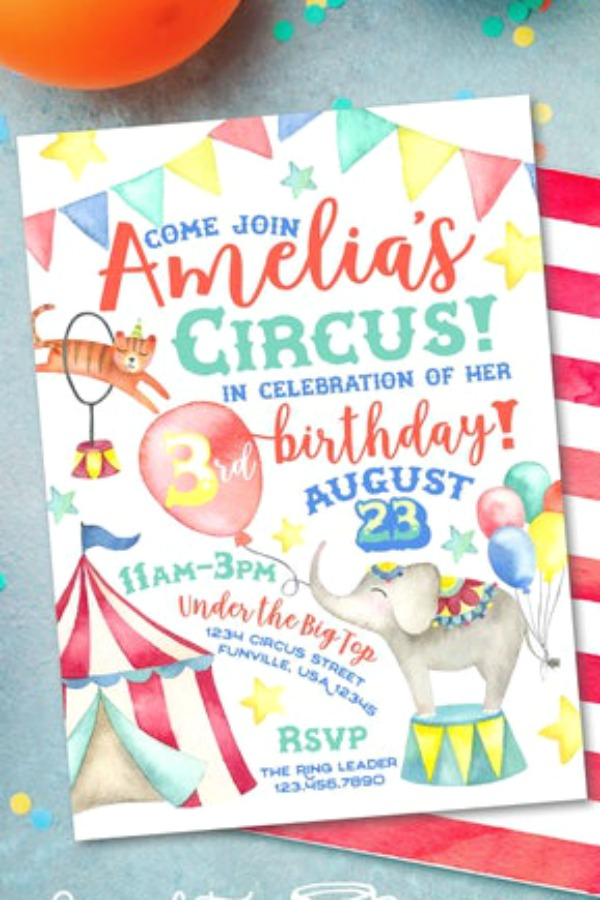 Gorgeous illustrated carnival party invitation with a colorful banner, circus animals and a stripy tent