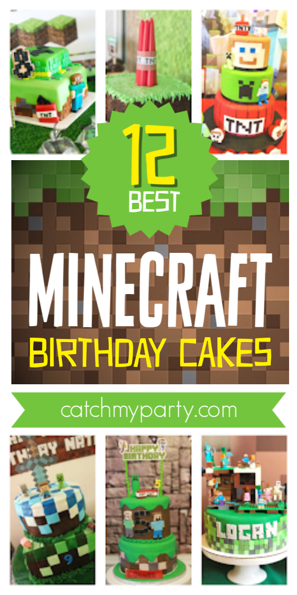 Collage of the 12 best Minecraft Cakes