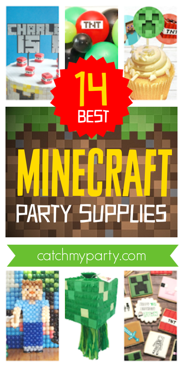 Collage of the 14 best Minecraft party supplies