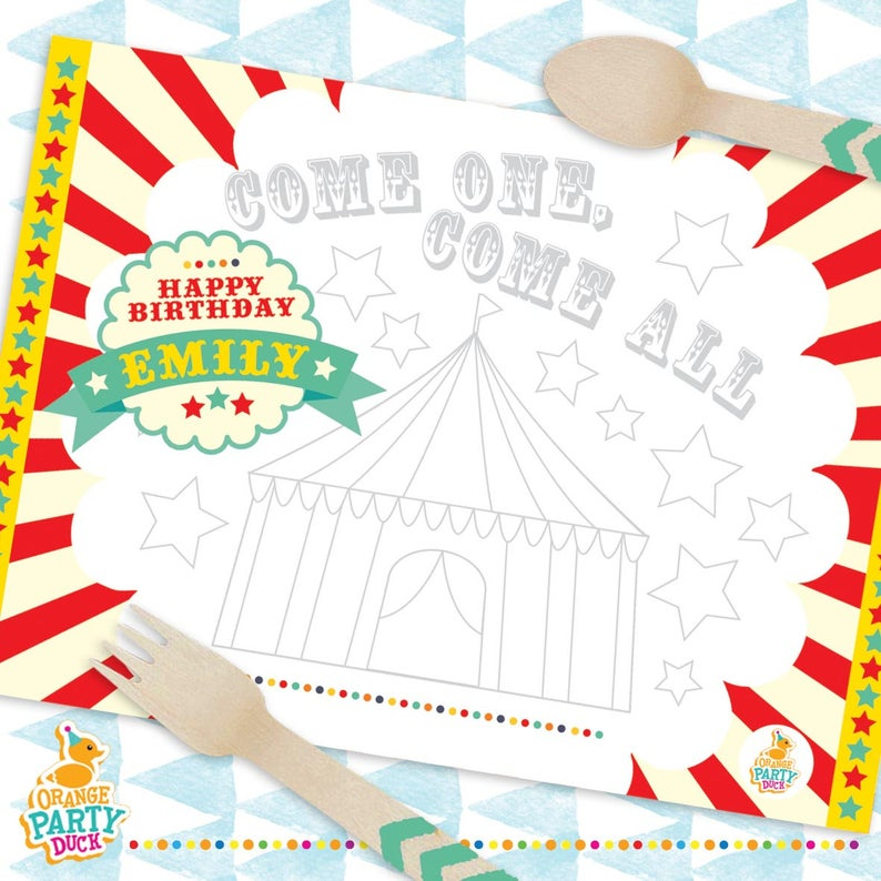 Coloring Carnival Placemats
