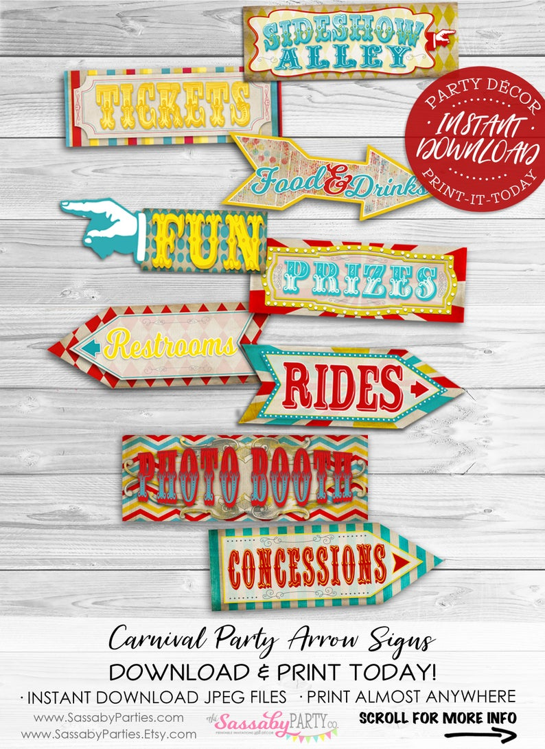 Vintage Carnival Party Signs
