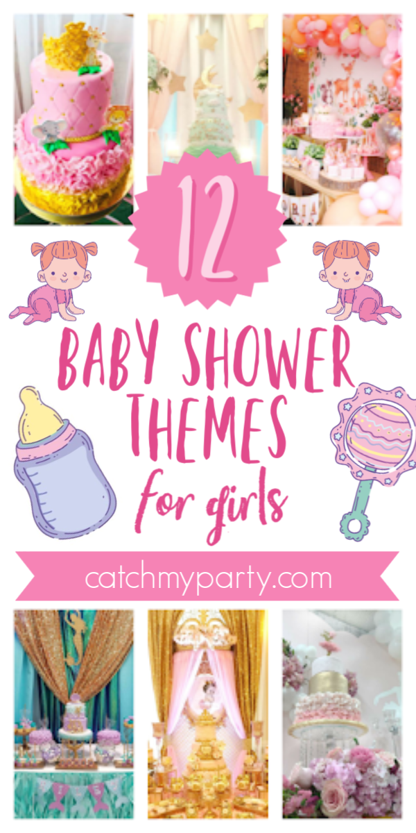 Collage of The 12 Most Popular Baby Shower Themes for Girls