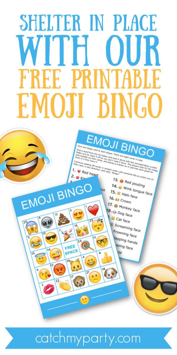 Collage of a Shelter in Place With Our Free Printable Emoji Bingo!