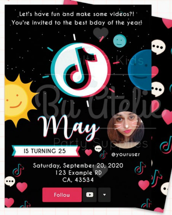 TikTok Party Supplies -- invitation