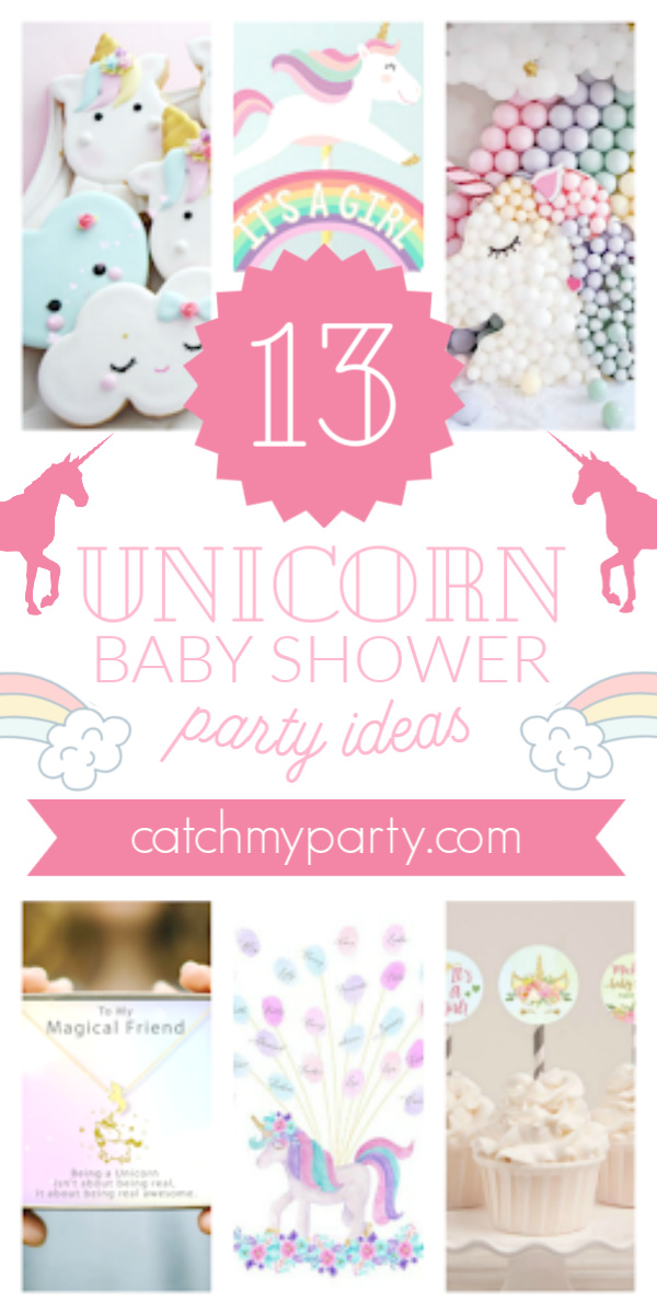 Collage if the 13 most beautiful unicorn baby shower party supplies!