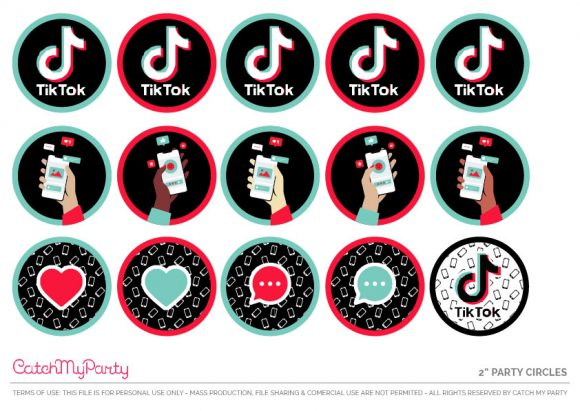 Free TikTok Party Printables - Cupcake Toppers