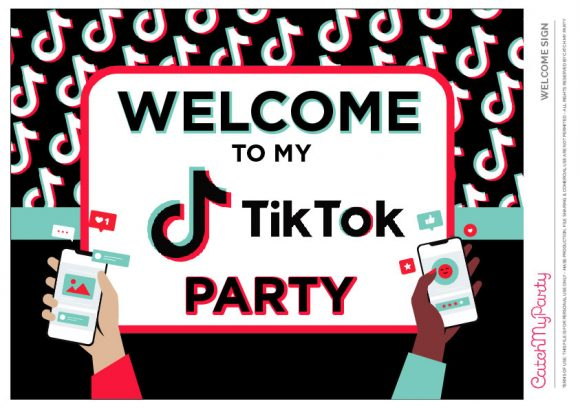 Free TikTok Party Printables - Welcome Sign