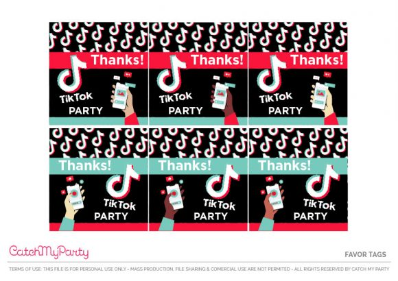 Free TikTok Party Favor Tags
