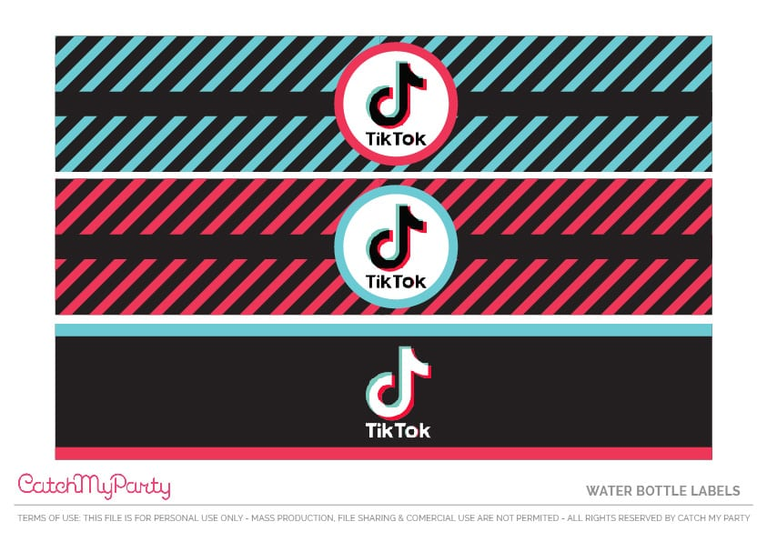 Free TikTok Party Printables - Water Bottle Labels