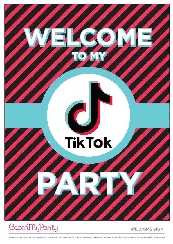 Free TikTok Party Printables - Welcome Poster
