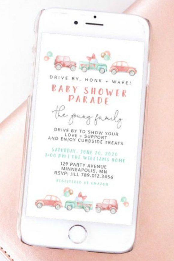 Digital Drive By Girl Baby Shower Invitation