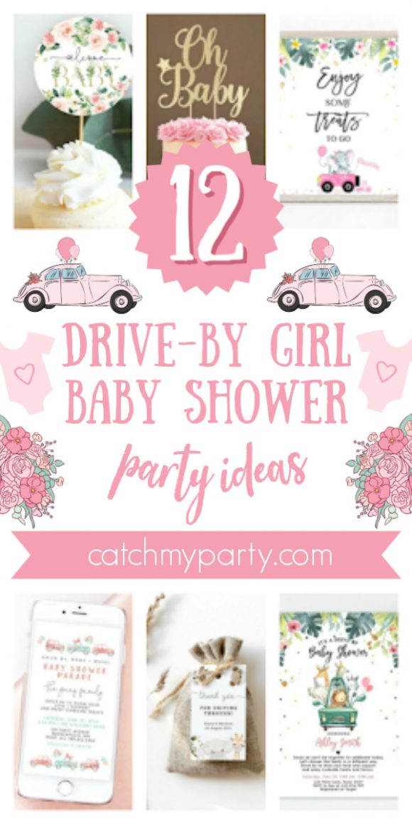Collage of the 12 best drive-by girl baby shower supplies!
