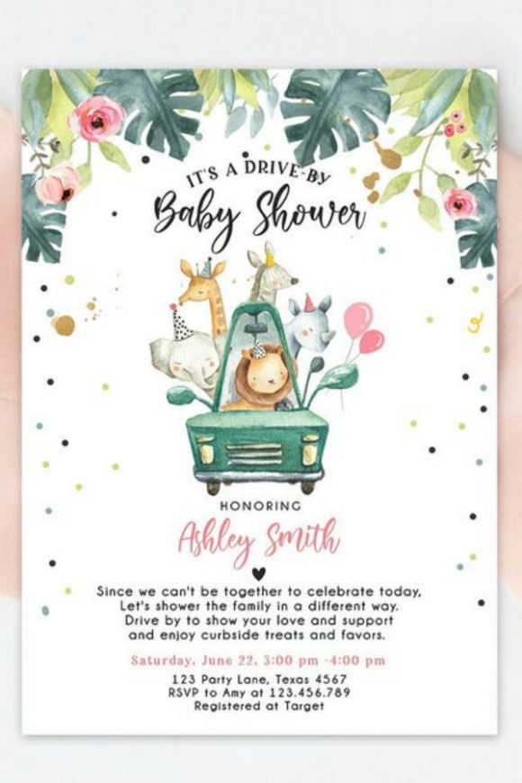 Drive-by Girl Baby Shower Printable Invitation