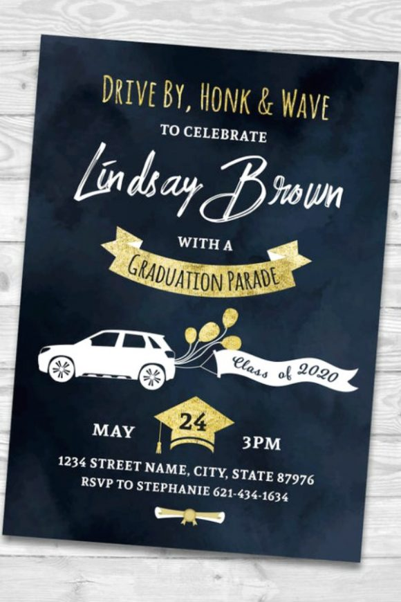 Quarantine Graduation Drive-by Printable Party Invitation