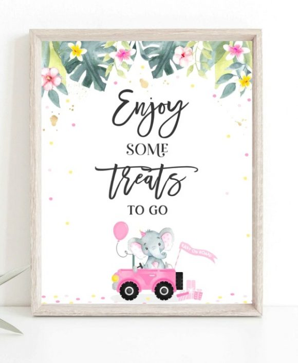 'Treats to Go' Girl Baby Shower Thank You Sign