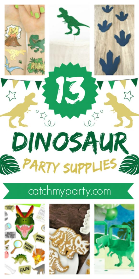 Collage of 13 Dinosaur Party Supplies That Will Make You Roar!