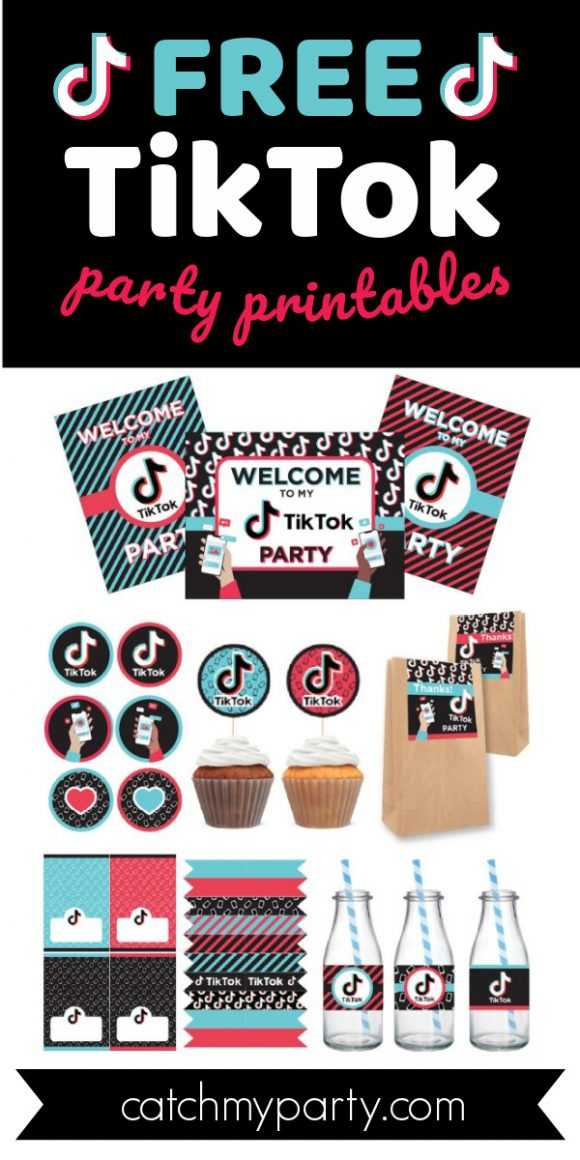 Collage of Some Fun Free TikTok Party Printables for you to Download