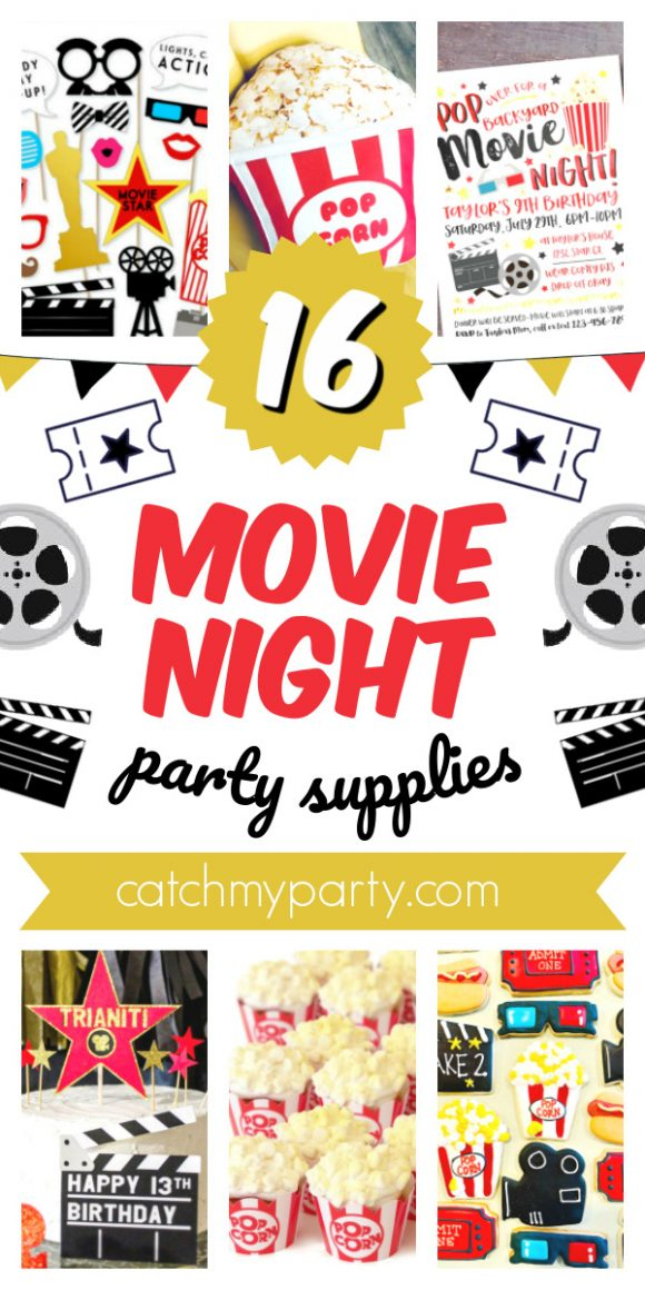 Collage of 16 Awesome Movie Night Party Supplies