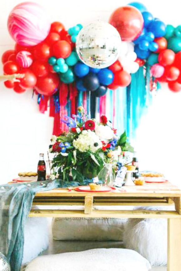 Gorgeous red, white and blue balloon and floral decorations