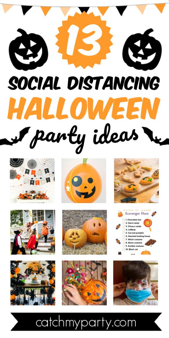 Collage of 13 Social Distancing Halloween Party Ideas
