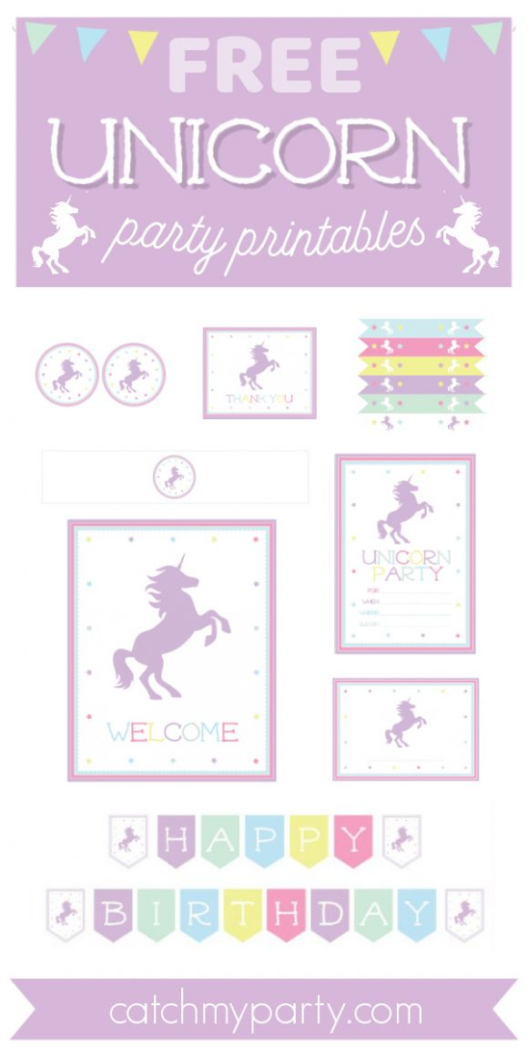 Free unicorn birthday party printables