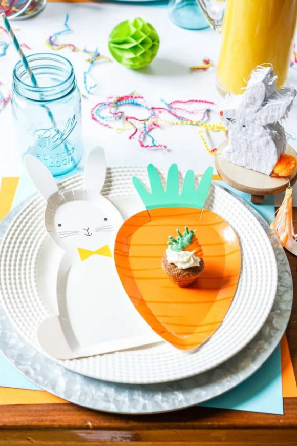 Easter Bunny and Carrot Paper Plates