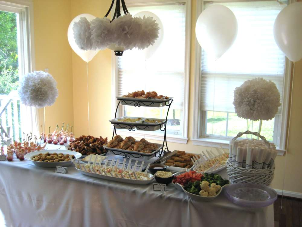 All white bridal wedding shower party ideas photo 5 of for All white party decoration