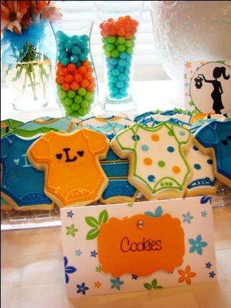 Blue Orange Green Baby Shower Party Ideas Photo 2 Of 21