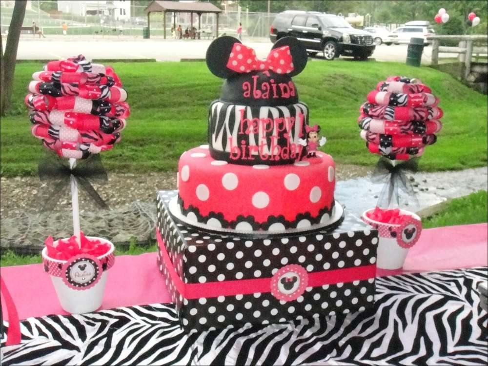 Minnie Mouse and Zebra Print Birthday Party Ideas Photo 8 of 24