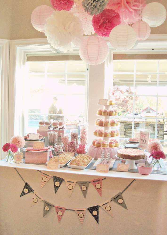 Shades Of Pink Gray Baby Shower Party Ideas Photo 1 Of 64