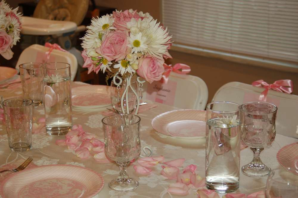 Pink toile baptism party ideas photo 1 of 2 catch my party for Baby girl baptism decoration ideas