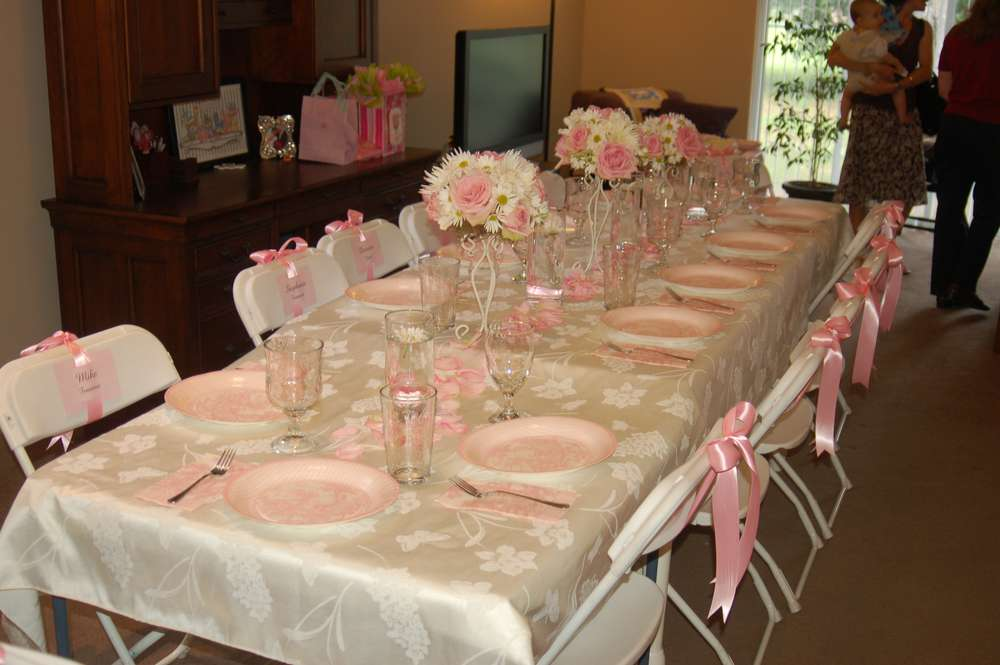 Pink toile baptism party ideas photo 2 of 2 catch my party for Baby girl baptism decoration ideas
