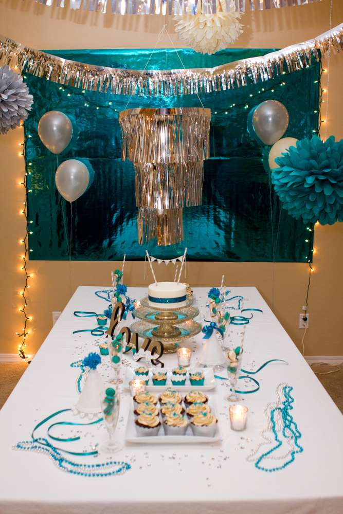 879f29fb9cd61 Teal & Silver Bridal/Wedding Shower Party Ideas | Photo 6 of 20 ...