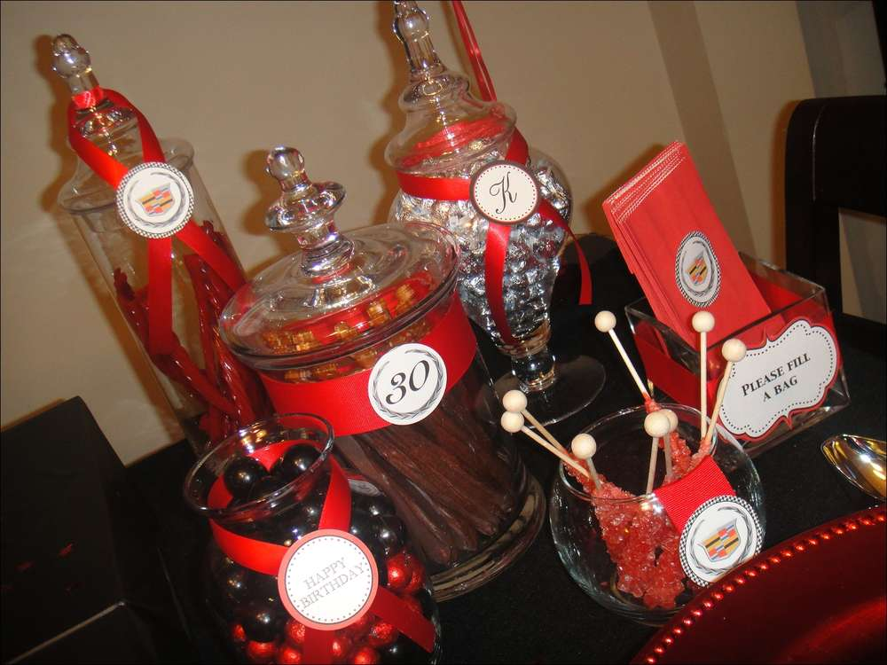 Black Red Cadillac Theme Birthday Party Ideas Photo 6 of 14