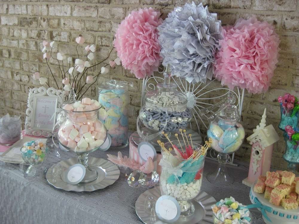 Silver White And Pale Pink First Communion Party Ideas Photo 2 Of