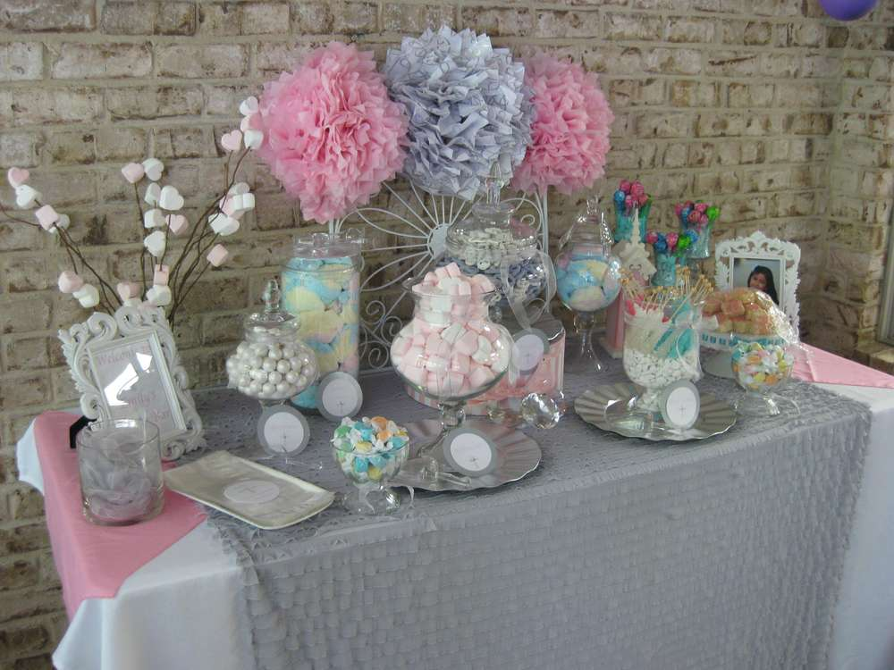 Silver White And Pale Pink First Communion Party Ideas Photo 4 Of