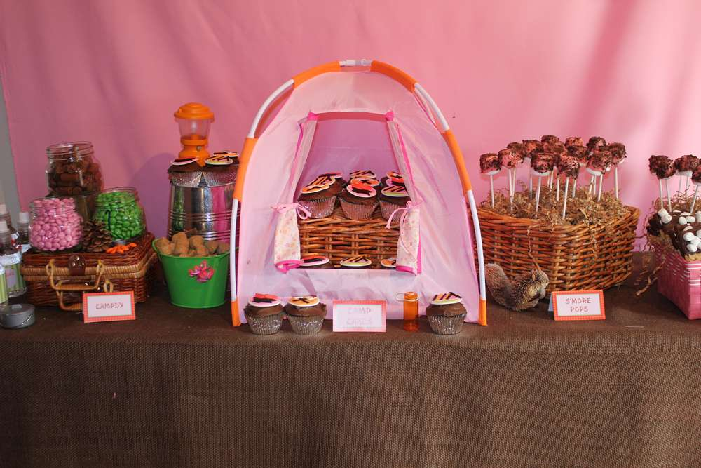 Camping Party for 7 year old girls Birthday Party Ideas Photo 9 of
