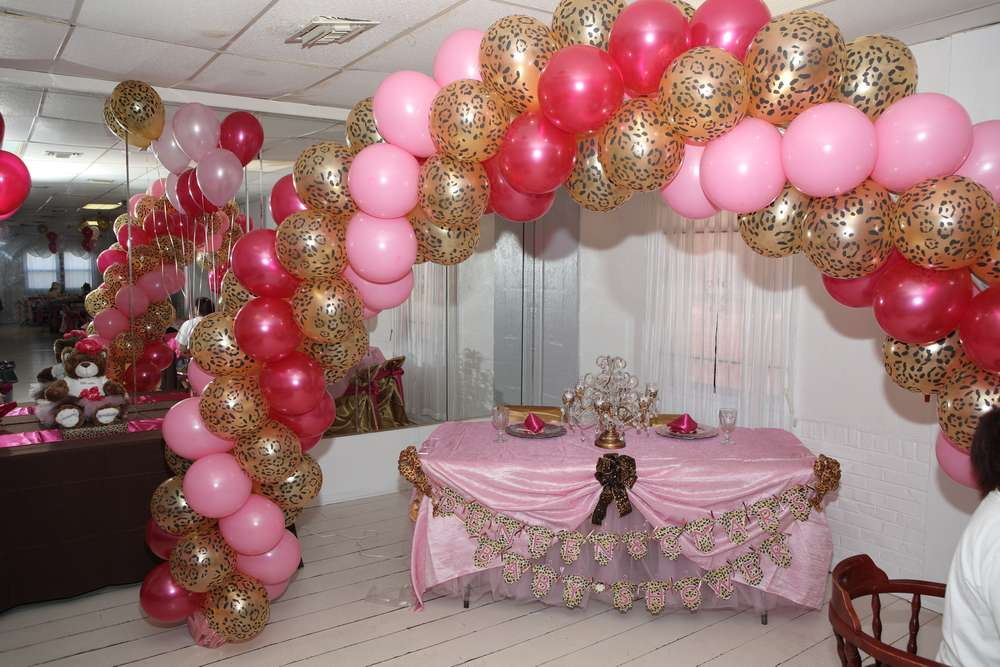 Pink and leopard baby shower party ideas photo 10 of 23 for Animal print baby shower decoration ideas