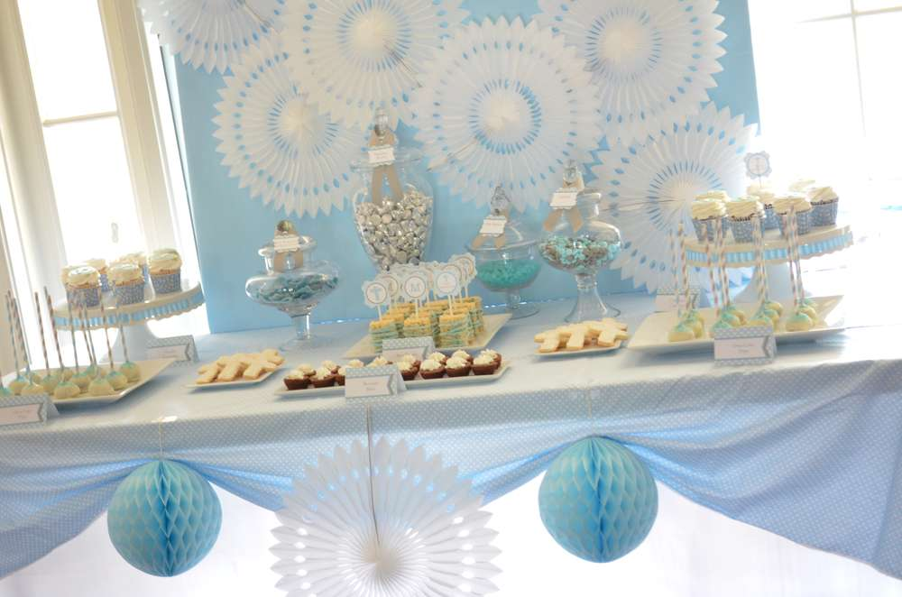 Baby Blue And Silver Grey Baptism Party Ideas Photo 12 Of 19