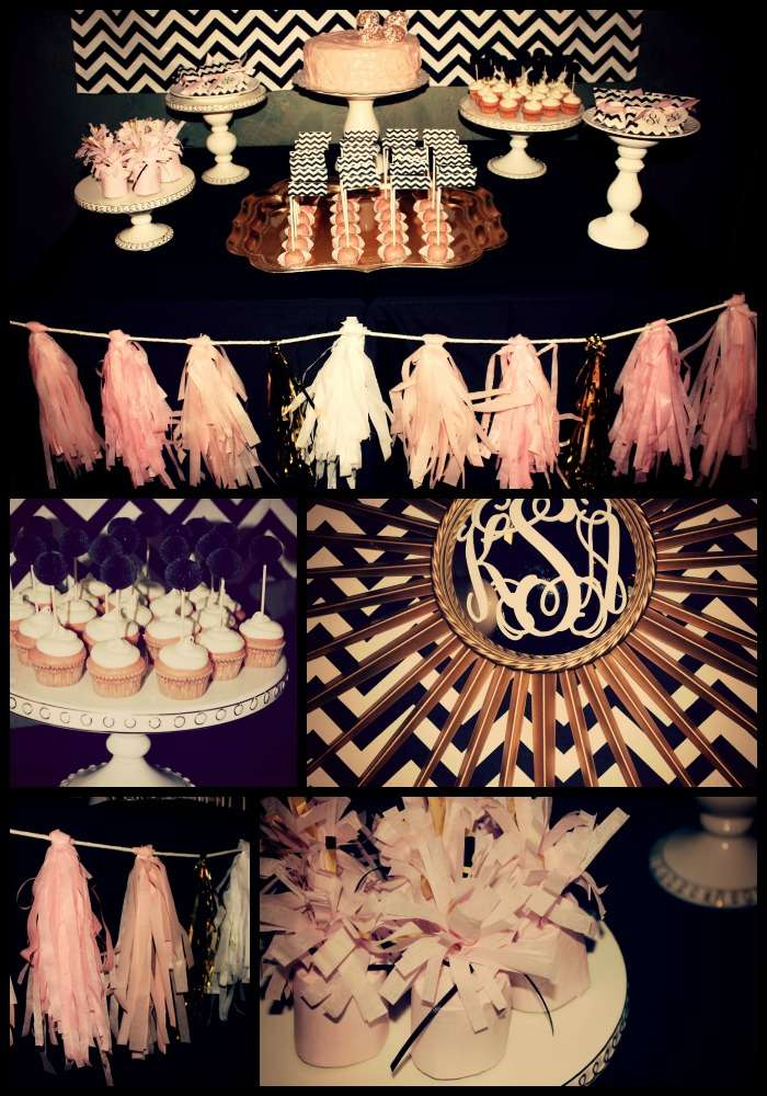 Blackwhite Chevron Pale Pink Gold Birthday Party Ideas Photo