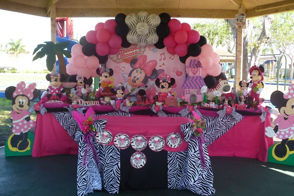 Minnie Mouse And Zebra Print Birthday Party Ideas Photo