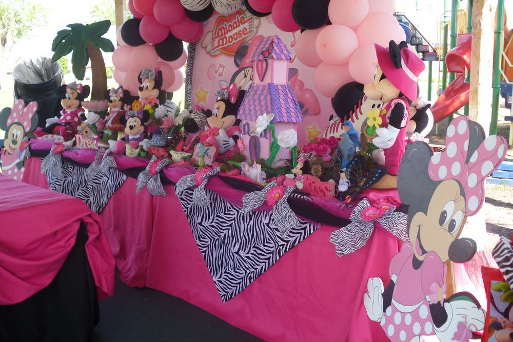 minnie mouse and zebra print birthday party ideas photo 4 of 14