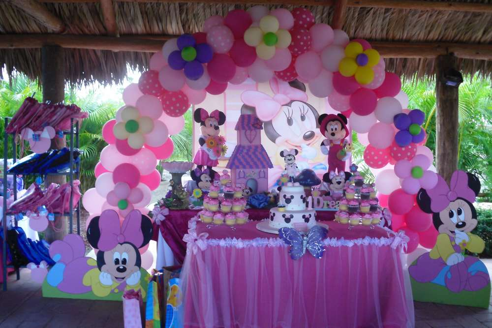 Baby Minnie Mouse 1st Birthday Birthday Party Ideas Photo 1 of 83