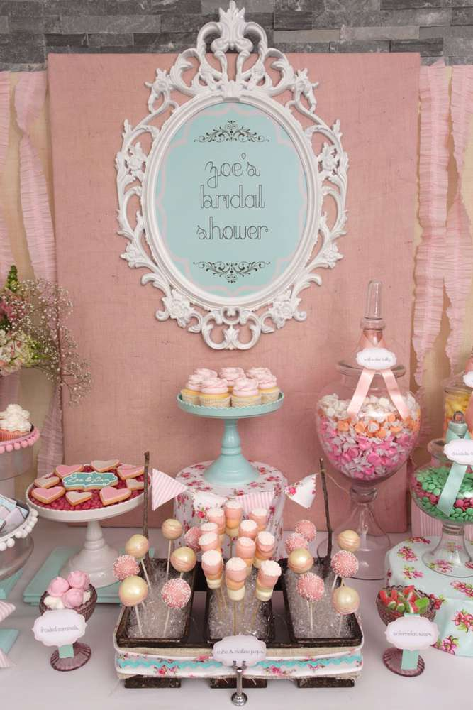 vintage shabby chic bridal wedding shower party ideas photo 24 of 54 catch my party. Black Bedroom Furniture Sets. Home Design Ideas