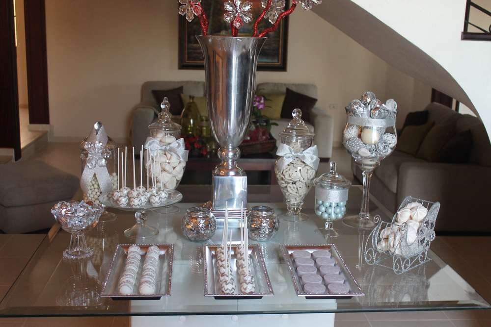Silver white birthday party ideas photo 1 of 24 for 25th anniversary decoration ideas
