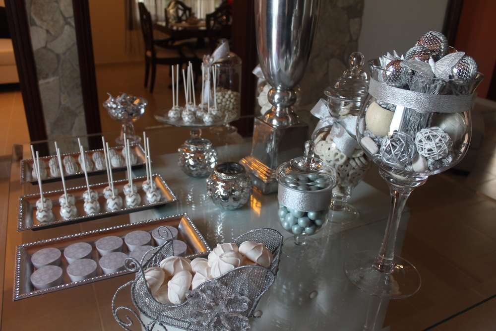 Silver white birthday party ideas photo 19 of 24 for Decoration 25th wedding anniversary