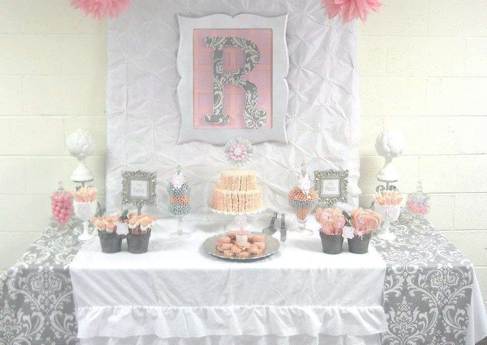 Pink Grey Damask Baby Shower Baby Shower Party Ideas Photo 5 Of