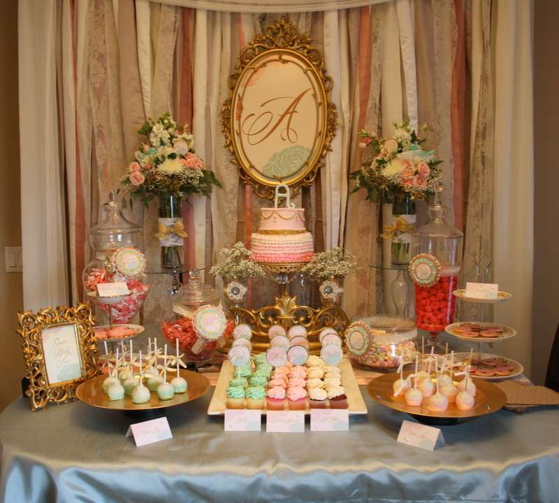 Shabby chic vintage glam baby shower party ideas photo for Baby welcome party decoration ideas